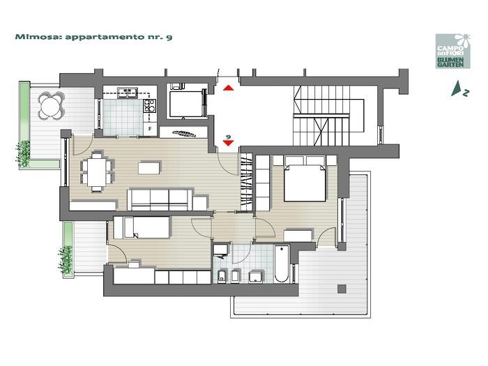 Blumengarten - Mimose 09, 4. Obergeschoss -- 0