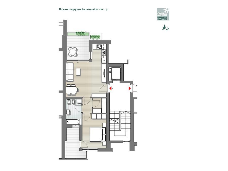 Blumengarten - Rosa 07, 3. Obergeschoss -- 0