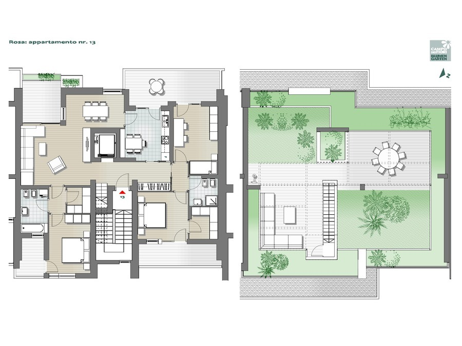 Blumengarten - Rosa 13, 6. Obergeschoss -- 0