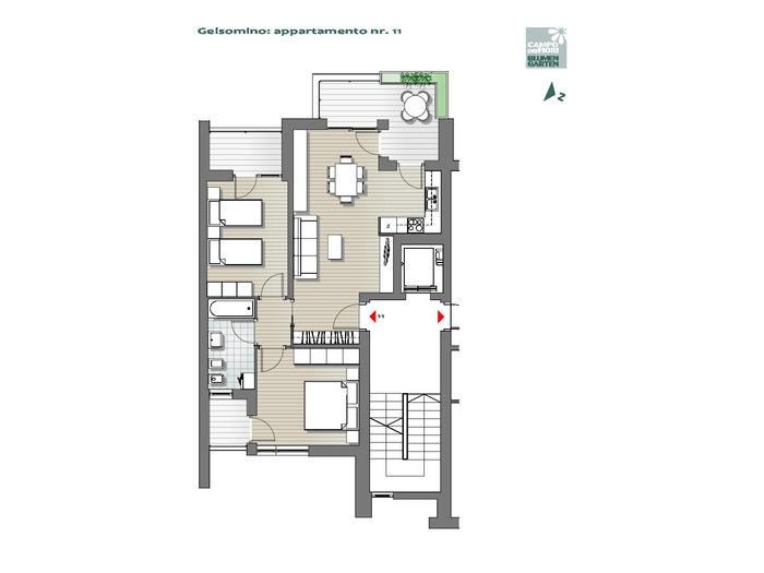 Blumengarten - Jasmin 11, 5. Obergeschoss -- 0