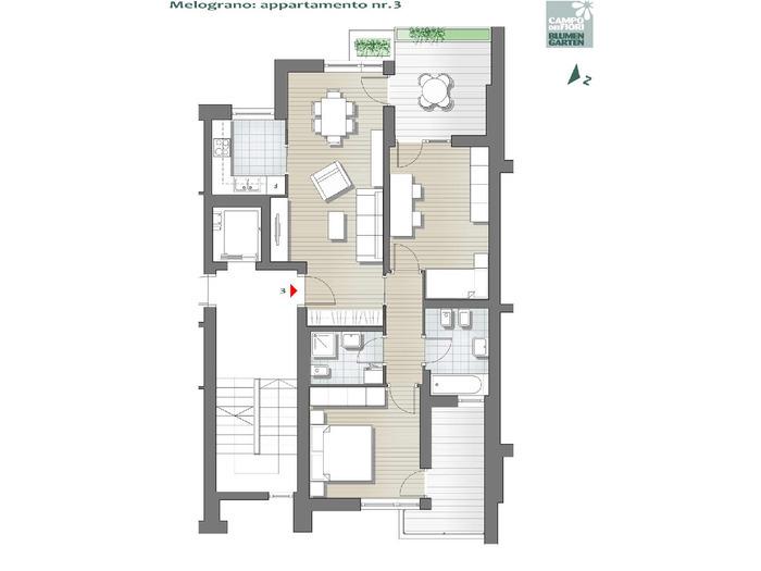 Blumengarten - Granatapfel 03, 1. Obergeschoss -- 0
